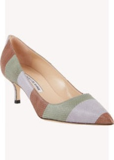 Manolo Blahnik Stripe Snakeskin BB Pumps
