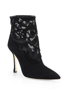 Manolo Blahnik Suede Lace Booties