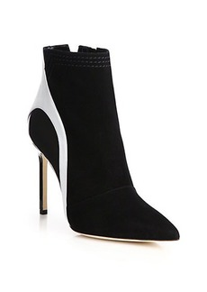 Manolo Blahnik Suede, Leather & Patent Leather Booties