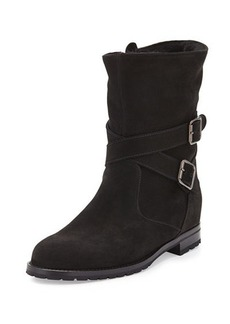Manolo Blahnik Suede Shearling-Lined Boot, Black
