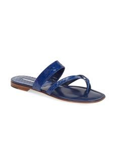 Manolo Blahnik 'Susa' Genuine Snakeskin Sandal (Women)