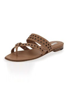 Manolo Blahnik Susaocc Leather Grommet Flat Thong Sandal, Tan