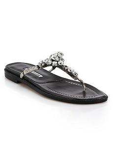 Manolo Blahnik Swarovski Crystal & Snakeskin Thong Sandals