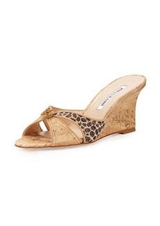 Manolo Blahnik Tailobo Embossed Cork Sandal, Natural