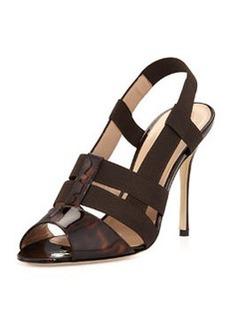Manolo Blahnik Tass Patent Slingback Sandal, Tortoise