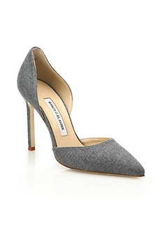 Manolo Blahnik Tayler Denim D'Orsay Pumps