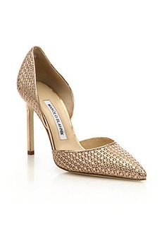 Manolo Blahnik Tayler Embossed Metallic Leather D'Orsay Pumps