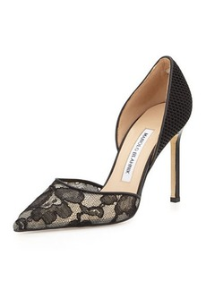 Manolo Blahnik Tayler Lace & Fishnet d'Orsay Pump, Black