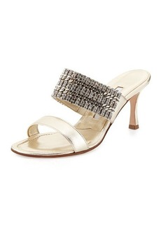Manolo Blahnik Telo Jeweled Napa Slide Sandal