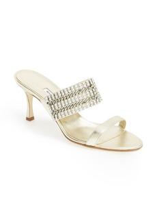 Manolo Blahnik 'Telostrap' Metallic Leather Sandal (Women)