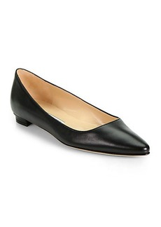Manolo Blahnik Titto Leather Ballet Flats