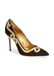 Manolo Blahnik 'Traspuesto' Satin Pointy Toe Pump (Women)