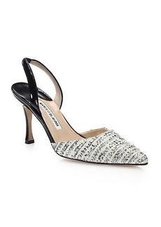 Manolo Blahnik Tweed Slingback Pumps