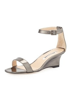 Manolo Blahnik Valere Metallic Demi-Wedge Sandal, Anthracite