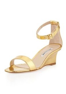 Manolo Blahnik Valere Metallic Demi-Wedge Sandal, Gold