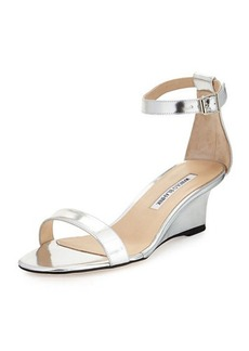 Manolo Blahnik Valere Metallic Demi-Wedge Sandal, Silver