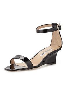 Manolo Blahnik Valere Patent Demi-Wedge Sandal, Black