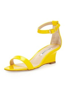 Manolo Blahnik Valere Patent Demi-Wedge Sandal, Yellow