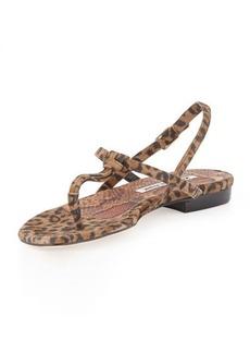 Manolo Blahnik Valig Leopard-Print Suede Thong Sandal