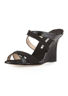 Manolo Blahnik Varchi Patent Leather and Linen Crisscross Wedge Sandal, Black
