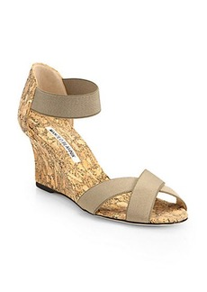 Manolo Blahnik Veggia Elastic & Cork Wedge Sandals