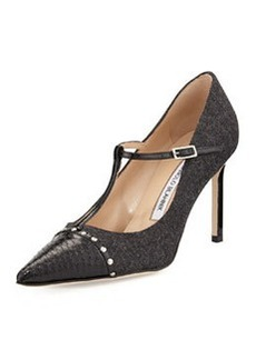 Manolo Blahnik Vippina Combo T-Strap Pump, Black/Gray