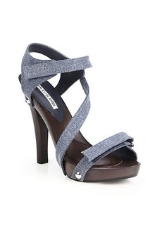 Manolo Blahnik Wooden-Heeled Denim Sandals