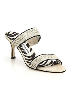 Manolo Blahnik Woven Leather & Mesh Slide Sandals