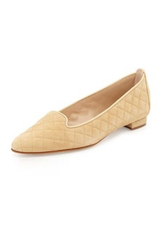 Manolo Blahnik Yak Quilted Suede Smoking Slipper, Beige