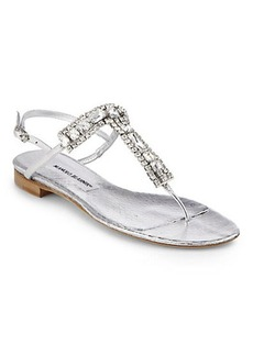 Manolo Blahnik Zanfimod Jeweled Metallic Leather Thong Sandals