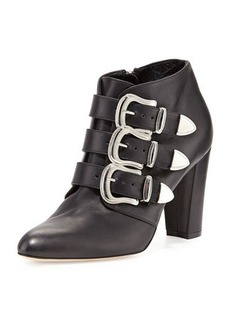 Manolo Blahnik Zavattini Triple-Buckle Ankle Boot