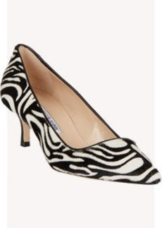 Manolo Blahnik Zebra-Print Haircalf BB Pumps