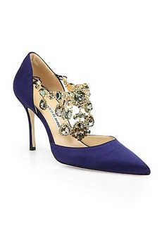 Manolo Blahnik Zullin Satin Jeweled d'Orsay Pumps