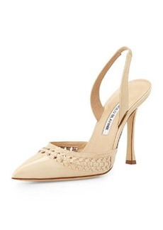 Nave Woven Patent Leather Pump, Bone   Nave Woven Patent Leather Pump, Bone