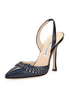 Nave Woven-Trim Patent Leather Pump, Navy   Nave Woven-Trim Patent Leather Pump, Navy