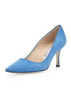 Newcio Mid-Heel Suede Pump, Blue   Newcio Mid-Heel Suede Pump, Blue