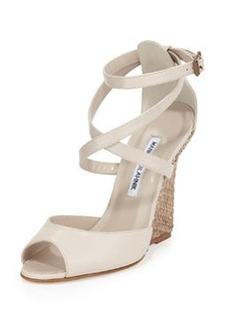 Nove Raffia-Wedge Sandal, Taupe   Nove Raffia-Wedge Sandal, Taupe
