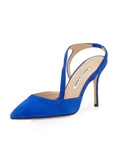 Parros Asymmetric Point-Toe Slingback, Blue   Parros Asymmetric Point-Toe Slingback, Blue