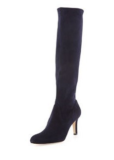 Pascaputre Suede Knee Boot, Navy   Pascaputre Suede Knee Boot, Navy