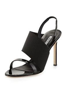 Petto Patent Crossover Sandal, Black   Petto Patent Crossover Sandal, Black