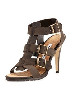 Pidigi Leather Triple-Buckle Sandal, Green   Pidigi Leather Triple-Buckle Sandal, Green
