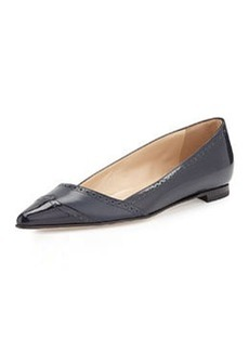 Pointy-Toe Wingtip Flat, Navy   Pointy-Toe Wingtip Flat, Navy