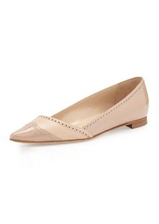 Pointy-Toe Wingtip Flat, Neutral   Pointy-Toe Wingtip Flat, Neutral