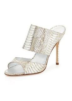 Ripta Metallic Snake Slide Sandal, Silver   Ripta Metallic Snake Slide Sandal, Silver