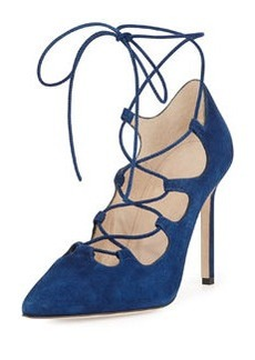 Rogustta Lace-Up Point-Toe Pump, Blue   Rogustta Lace-Up Point-Toe Pump, Blue