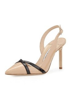 Scoppa Patent Crisscross Slingback, Neutral   Scoppa Patent Crisscross Slingback, Neutral