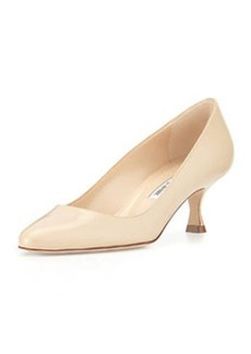 Sena Leather Almond-Toe Pump, Beige   Sena Leather Almond-Toe Pump, Beige