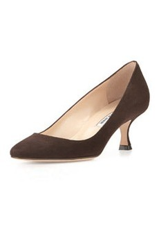 Sena Suede Almond-Toe Pump, Dark Brown   Sena Suede Almond-Toe Pump, Dark Brown