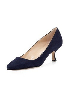Sena Suede Almond-Toe Pump, Navy   Sena Suede Almond-Toe Pump, Navy