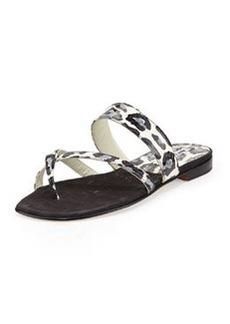 Susa Leopard-Print Snake Flat Thong Sandal, Black/Blue   Susa Leopard-Print Snake Flat Thong Sandal, Black/Blue